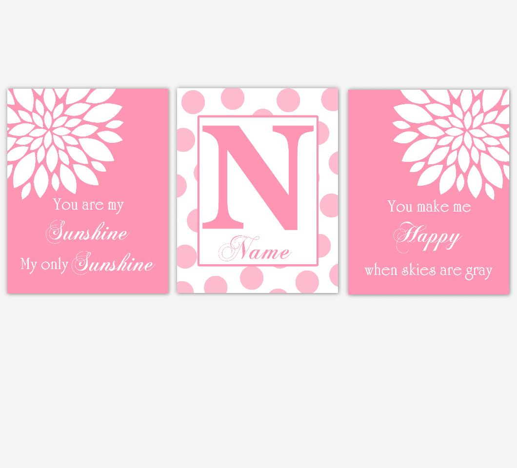 Pink Dahlia Flower Baby Girl Nursery Art Pink Mum Dahlia Flowers Floral Flourish Personalized Name Print Baby Nursery Decor 01629