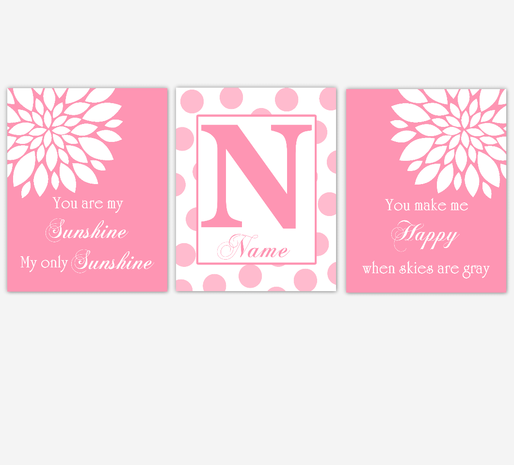 Pink Dahlia Flower Baby Girl Nursery Art Pink Mum Dahlia Flowers Floral Flourish Personalized Name Print Baby Nursery Decor
