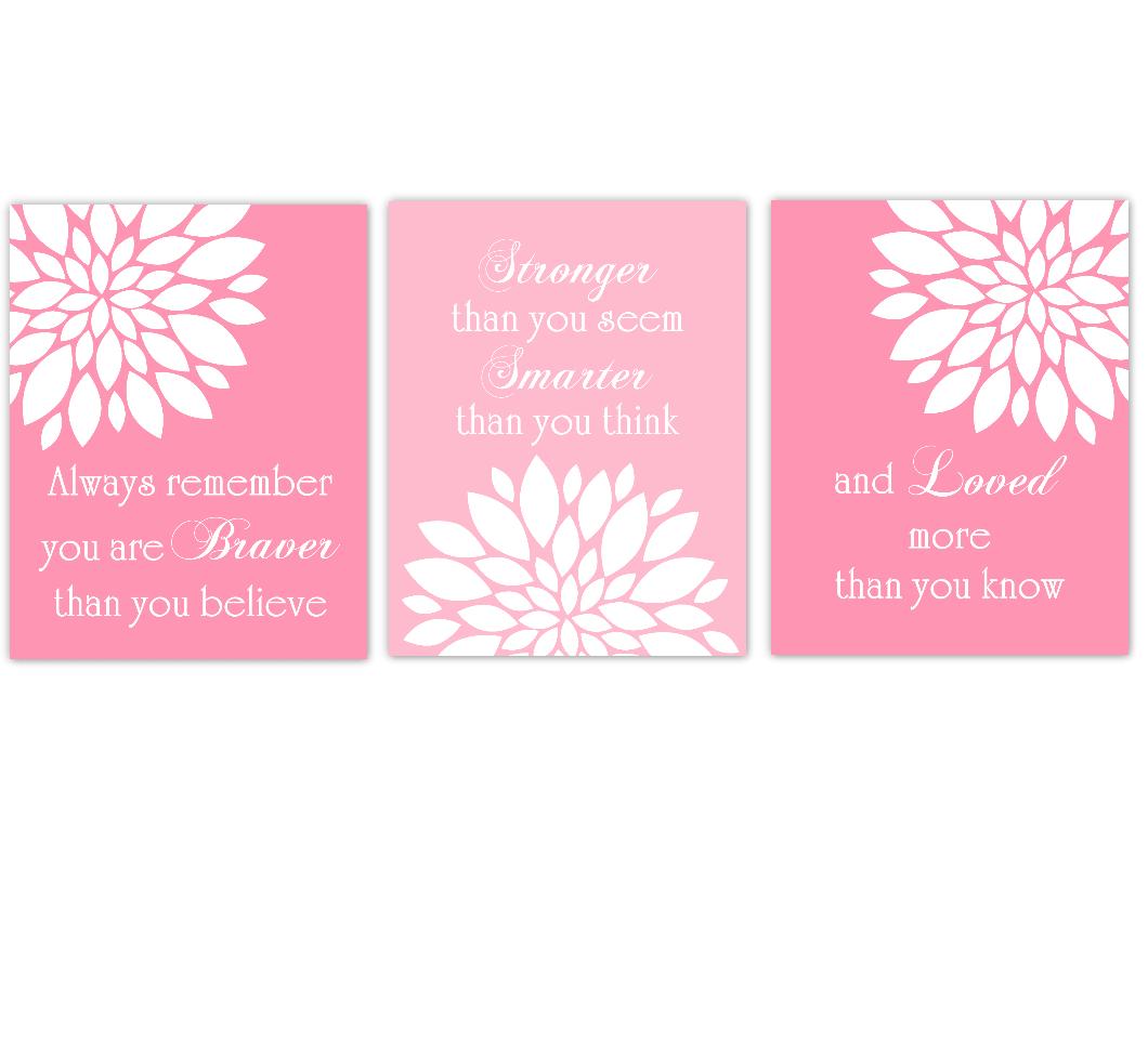 Coral Navy Blue Bathroom Pink Dahlia Mum Flower Floral Always Remember You Are Braver Inspirational Baby Girl Nursery Decor 01636