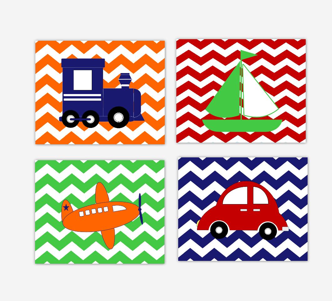 Transportation Baby Boy Nursery Art Red Blue Green Orange Train Plane Car Sailboat Toddler Bedroom Prints Baby Nursery Decor