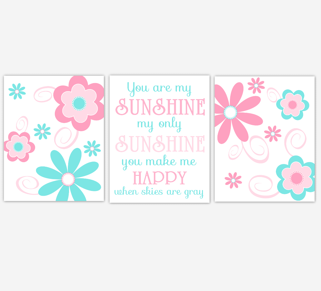 Baby Girl Nursery Wall Art Pink Aqua Flowers Floral You Are My Sunshine Print Baby Nursery Decor 01645