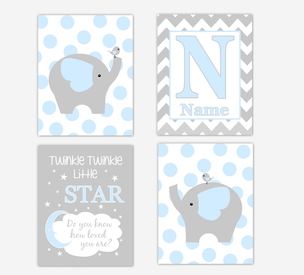Blue Baby Boy Nursery Art Elephant Personalized Safari Jungle Zoo Animal Baby Nursery Decor