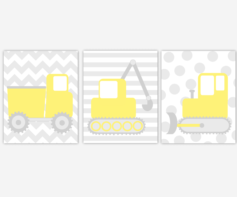 CONSTRUCTION Baby Boy Nursery Wall Art Yellow Gray Trucks Dump Truck Tractor Back Hoe Vehicles Boys Room Wall Art Baby Boy Nursery Decor Toddler Boy Prints Playroom Wall Art Home Decor