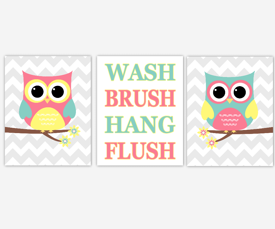 Owl Bath Wall Art Kids Bathroom Prints Pink Yellow Teal Bath Rules Wall Decor Owl Bath Decor Wash Brush Hang Flush Children Bathroom Prints 00694