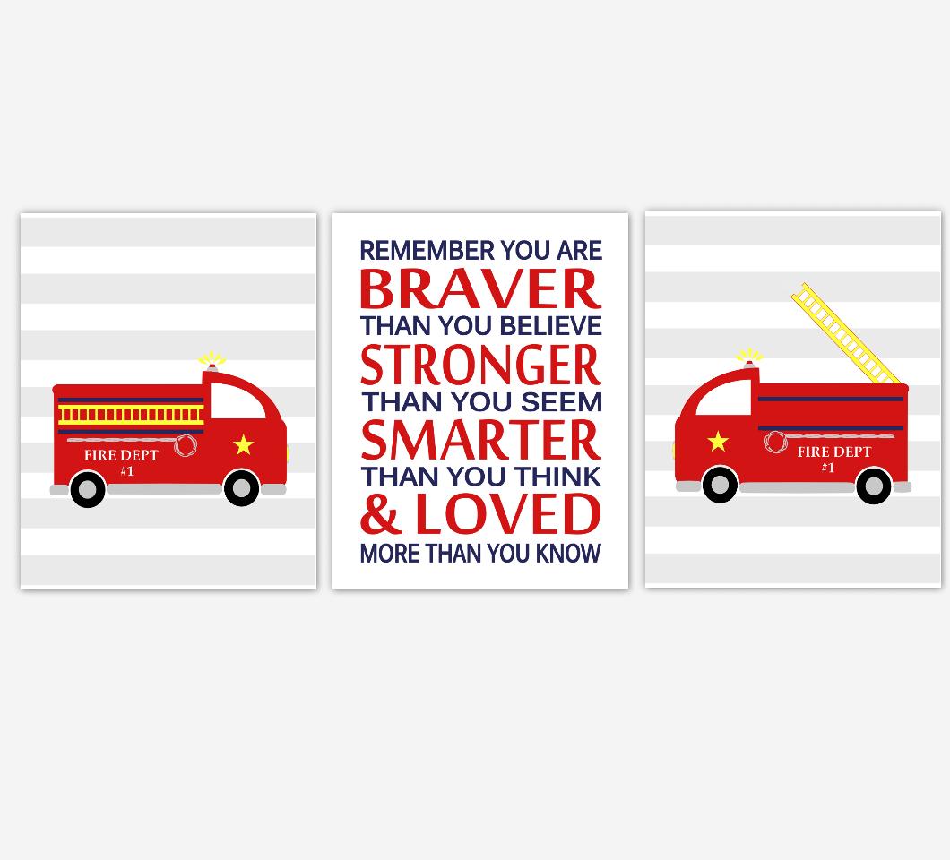 Firetruck Baby Boy Nursery Wall Art Red You are Braver Winnie The Pooh Quote Fireman Wall Art Boys Room Wall Decor