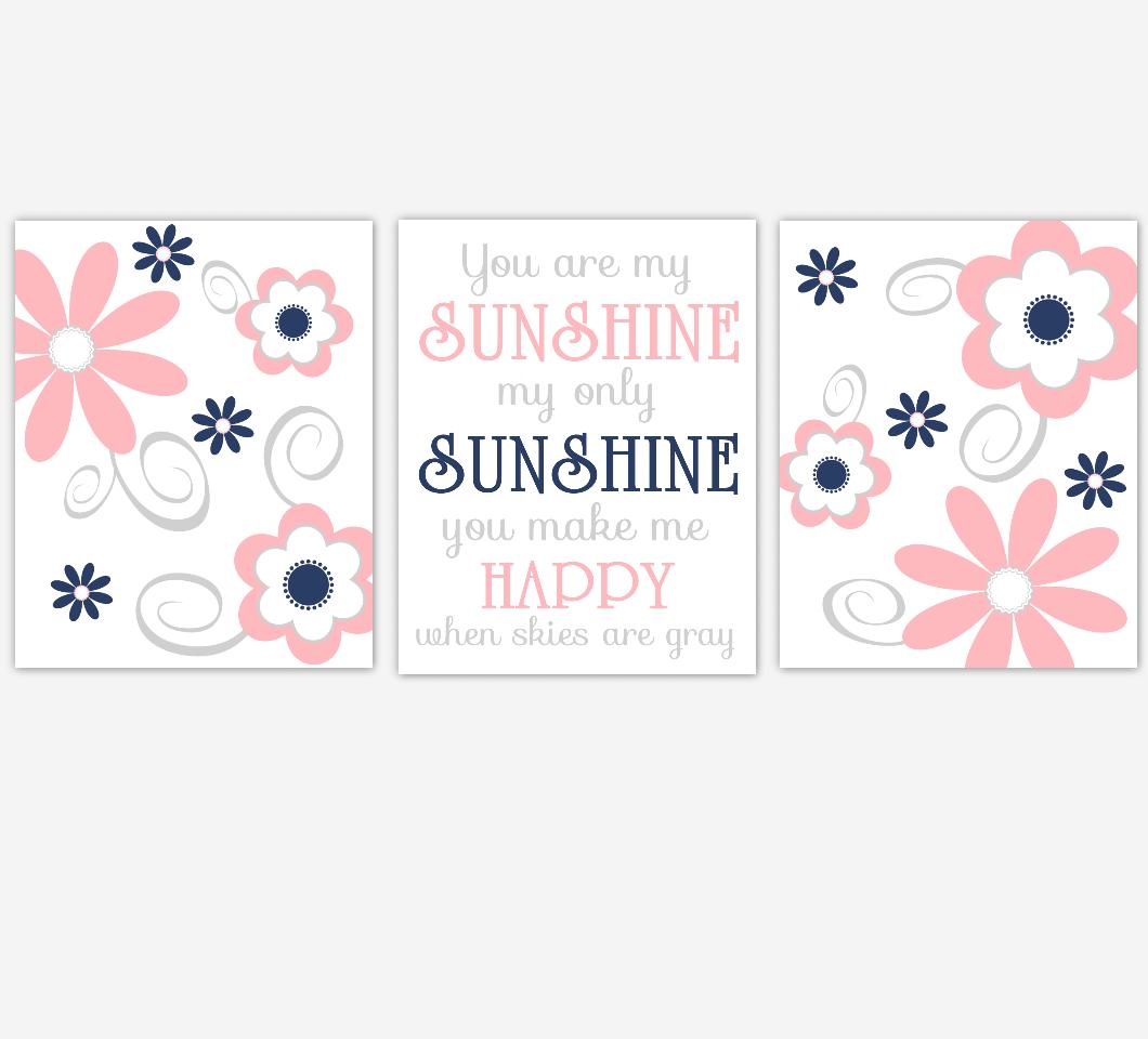 Coral Navy Baby Girl Nursery Decor Flowers Wall Art You Are My Sunshine Baby Girl Room Prints 01662