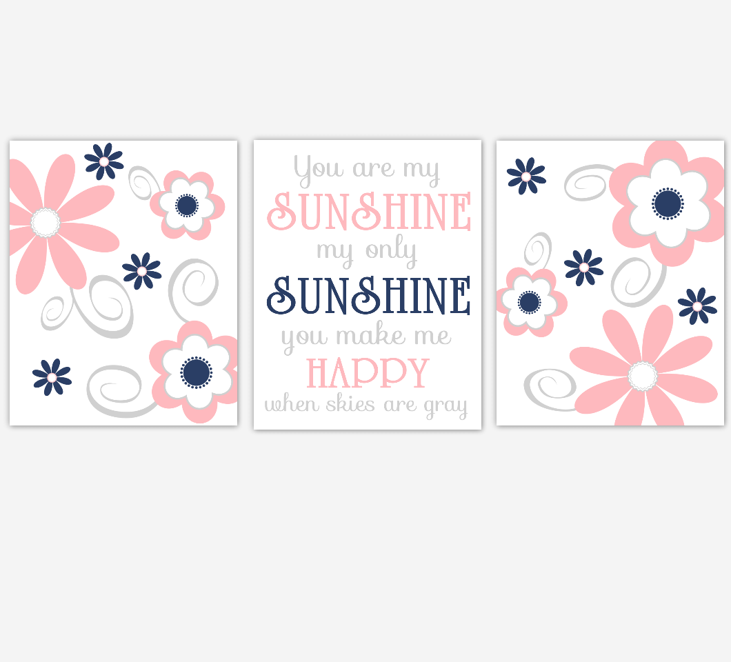 Coral Navy Baby Girl Nursery Decor Flowers Wall Art You Are My Sunshine Baby Girl Room Prints