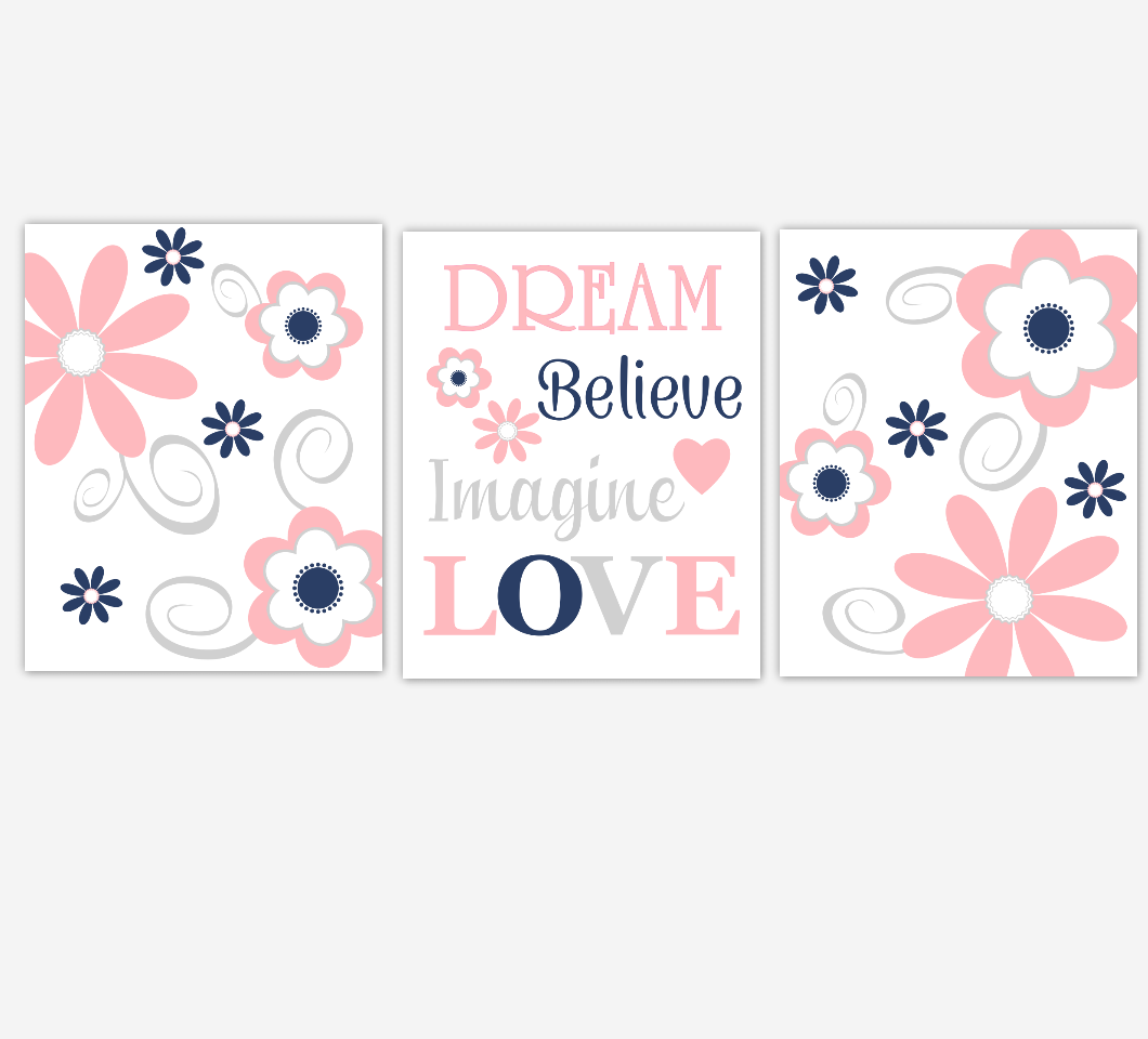Coral Navy Baby Girl Nursery Decor Flowers Wall Art Dream Believe Imagine LOVE Baby Girl Room Prints