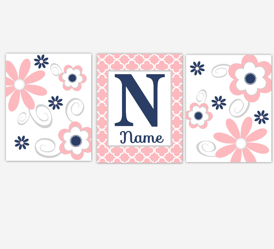 Coral Pink Baby Girl Nursery Decor Navy Flowers Floral Flourish Personalized Baby Girl Wall Art 01668