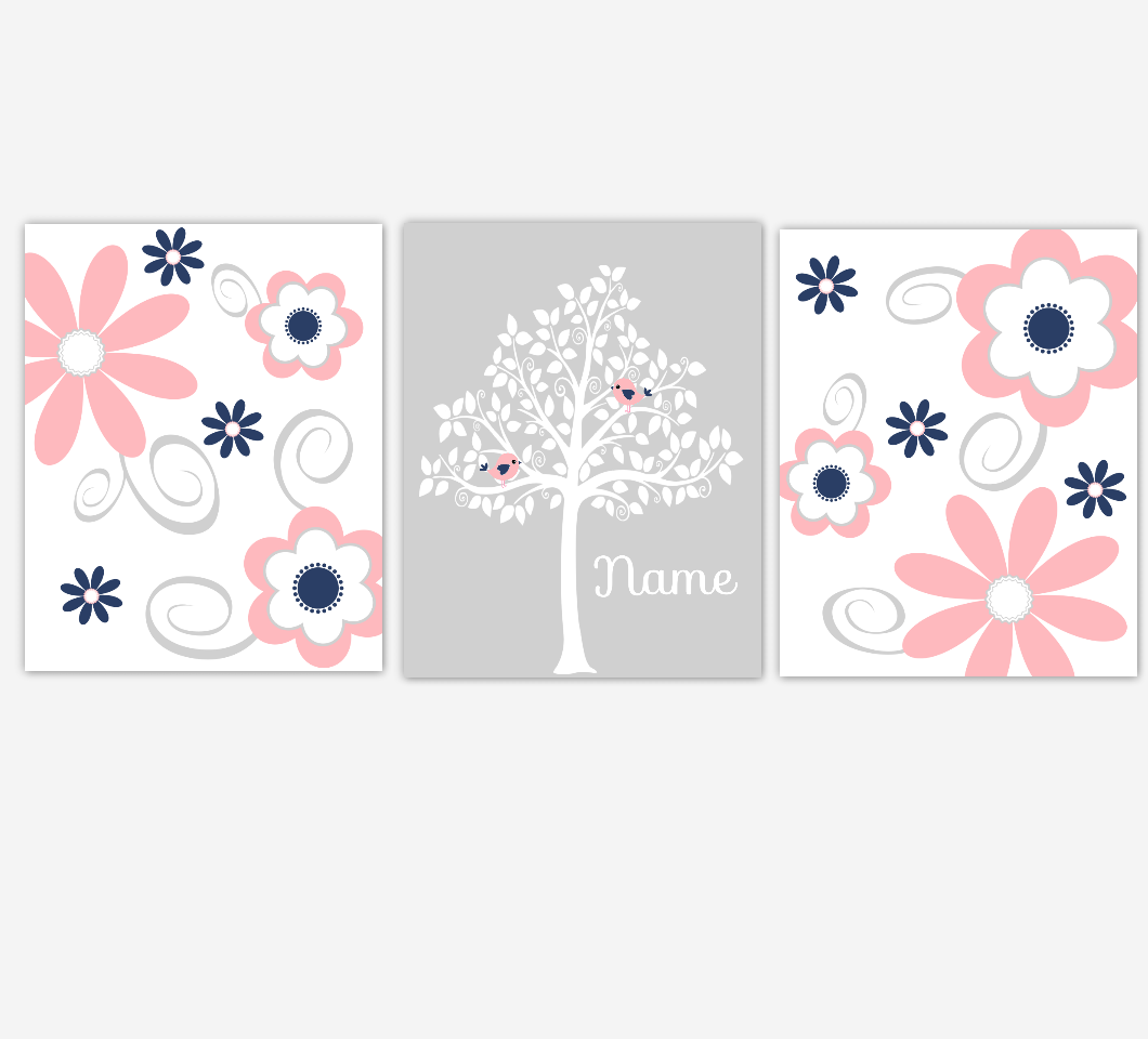 Coral Pink Baby Girl Nursery Decor Navy Flowers Floral Flourish Personalized Baby Girl Wall Art 01669