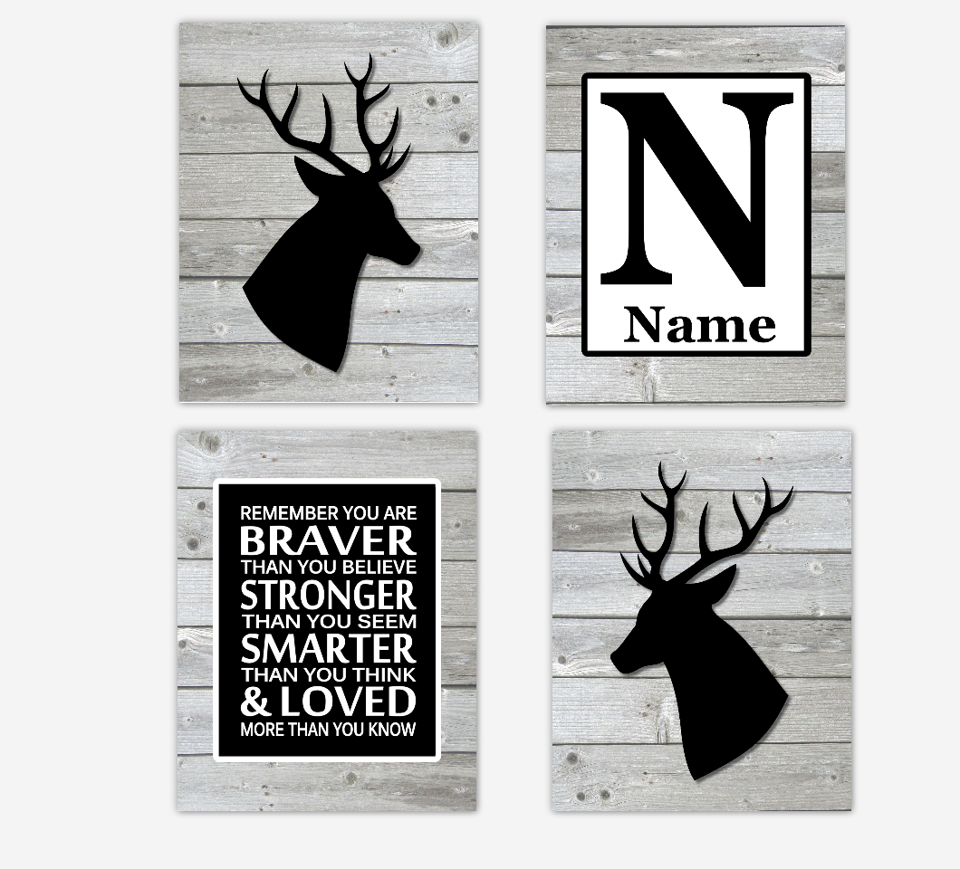 Black Baby Boy Nursery Decor Deer Woodland Farmhouse Style Baby Room Personalized Wall Art Prints