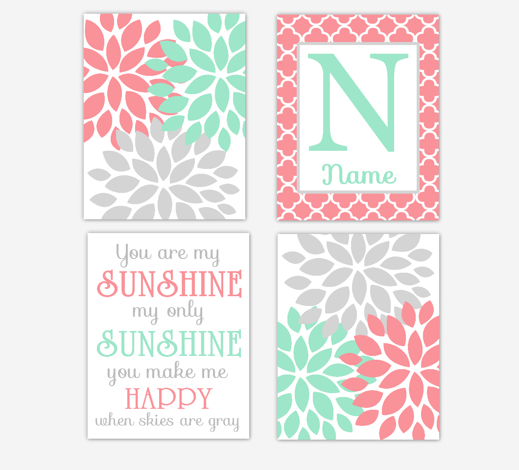 Coral Mint Baby Girl Nursery Decor Dahlia Mum Flowers You Are My Sunshine Wall Art Personalized 01673