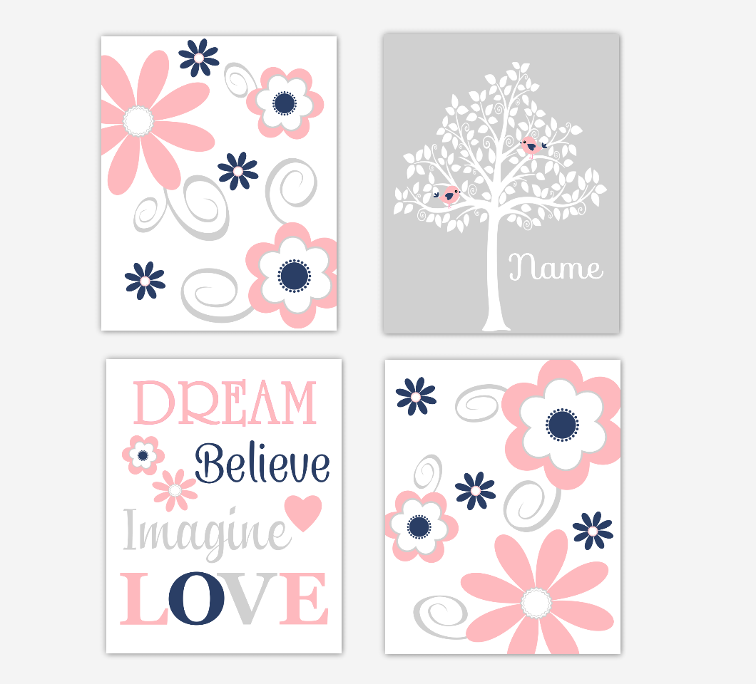 Coral Pink Navy Baby Girl Nursery Decor Flowers Floral Wall Art Personalized Tree