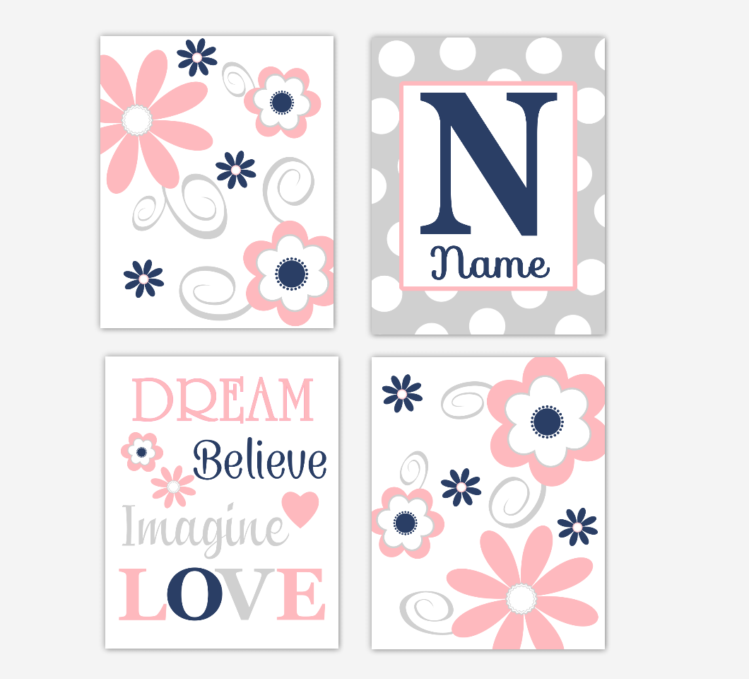 Coral Pink Navy Baby Girl Nursery Decor Flowers Floral Wall Art Personalized Prints 01675