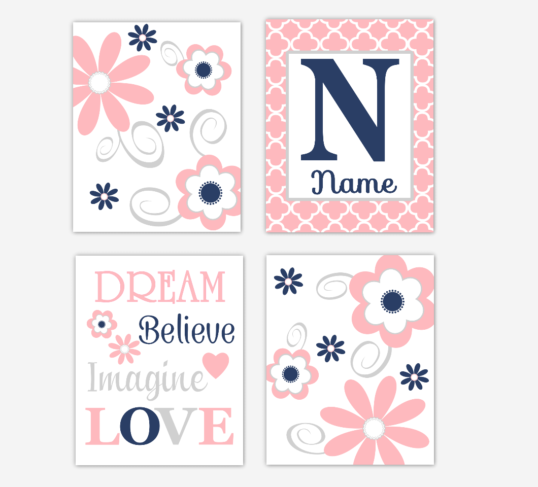 Coral Pink Navy Baby Girl Nursery Decor Flowers Floral Wall Art Personalized Prints 01676