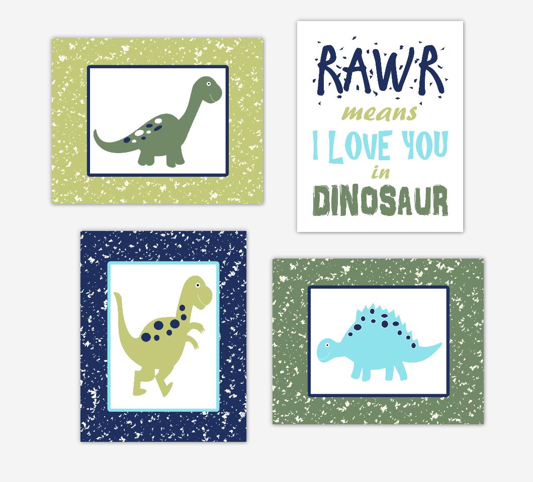 Dinosaur Baby Boy Nursery Decor Green Navy Blue Toddler Boy Bedroom Wall Art 01680
