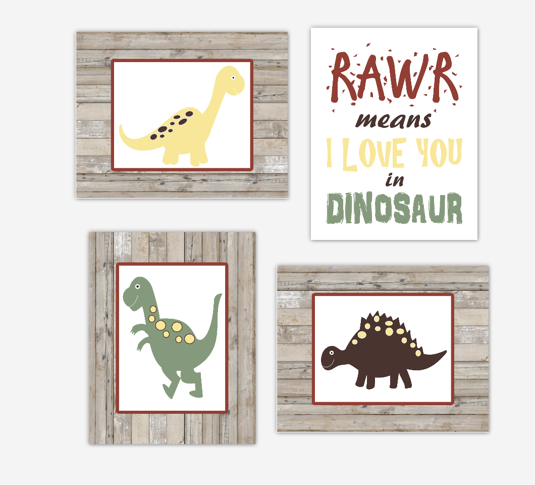 Dinosaur Baby Boy Nursery Decor Green Navy Blue Rustic Farmhouse Style Toddler Boy Bedroom Wall Art 01681