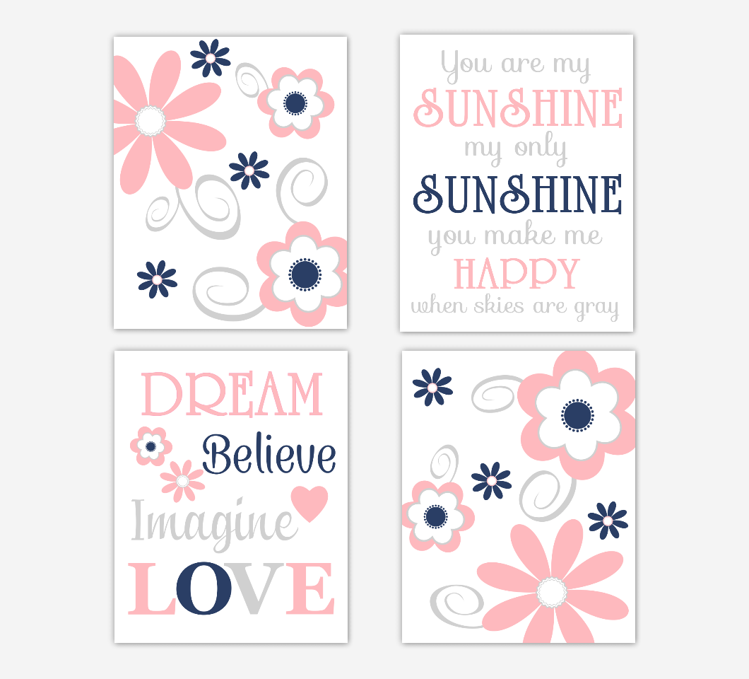 Coral Pink Baby Girl Nursery Decor Navy Blue Flowers Floral You Are My Sunshine Wall Art Prints 01683
