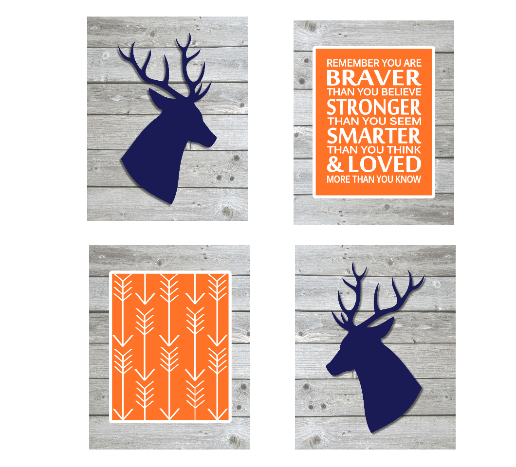 Navy Blue Orange Baby Boy Nursery Decor Deer Rustic Farmhouse Baby Room Arrows Remember You Are Braver 01684