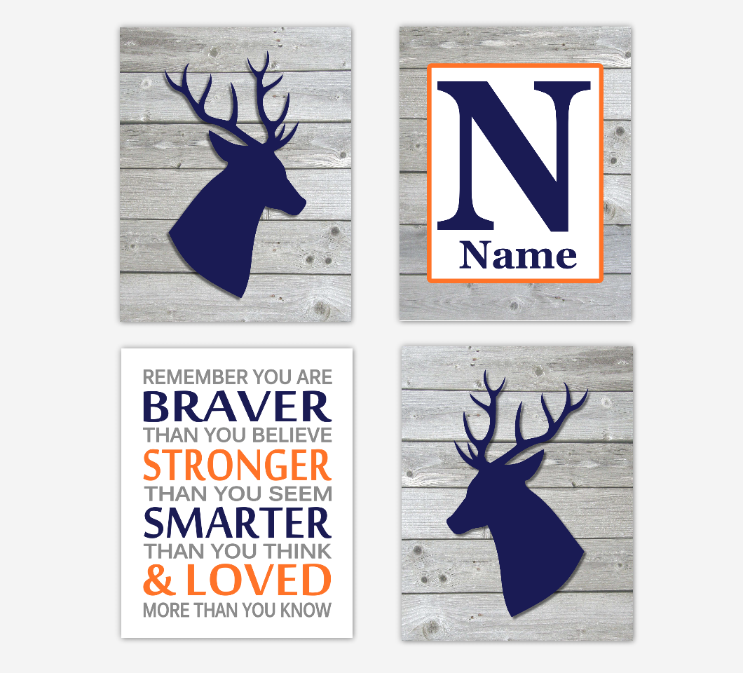 Navy Blue Baby Boy Nursery Decor Deer Orange Remember You Are Braver Rustic Farmhouse Baby Boy Room Wall Art Prints