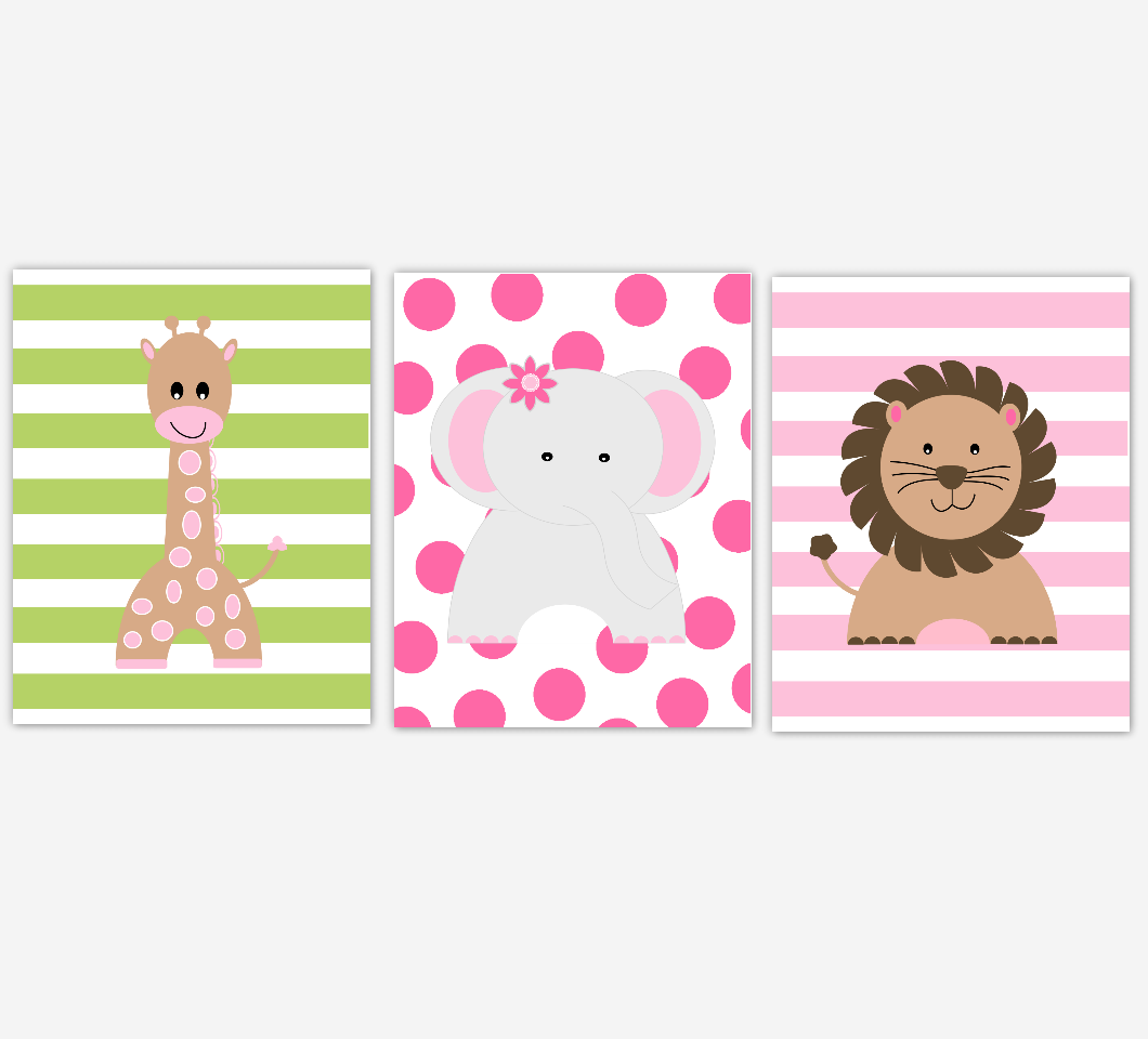 Safari Baby Girl Nursery Decor Pink Green Elephant Giraffe Lion Baby Girl Room Wall Art Prints 01688
