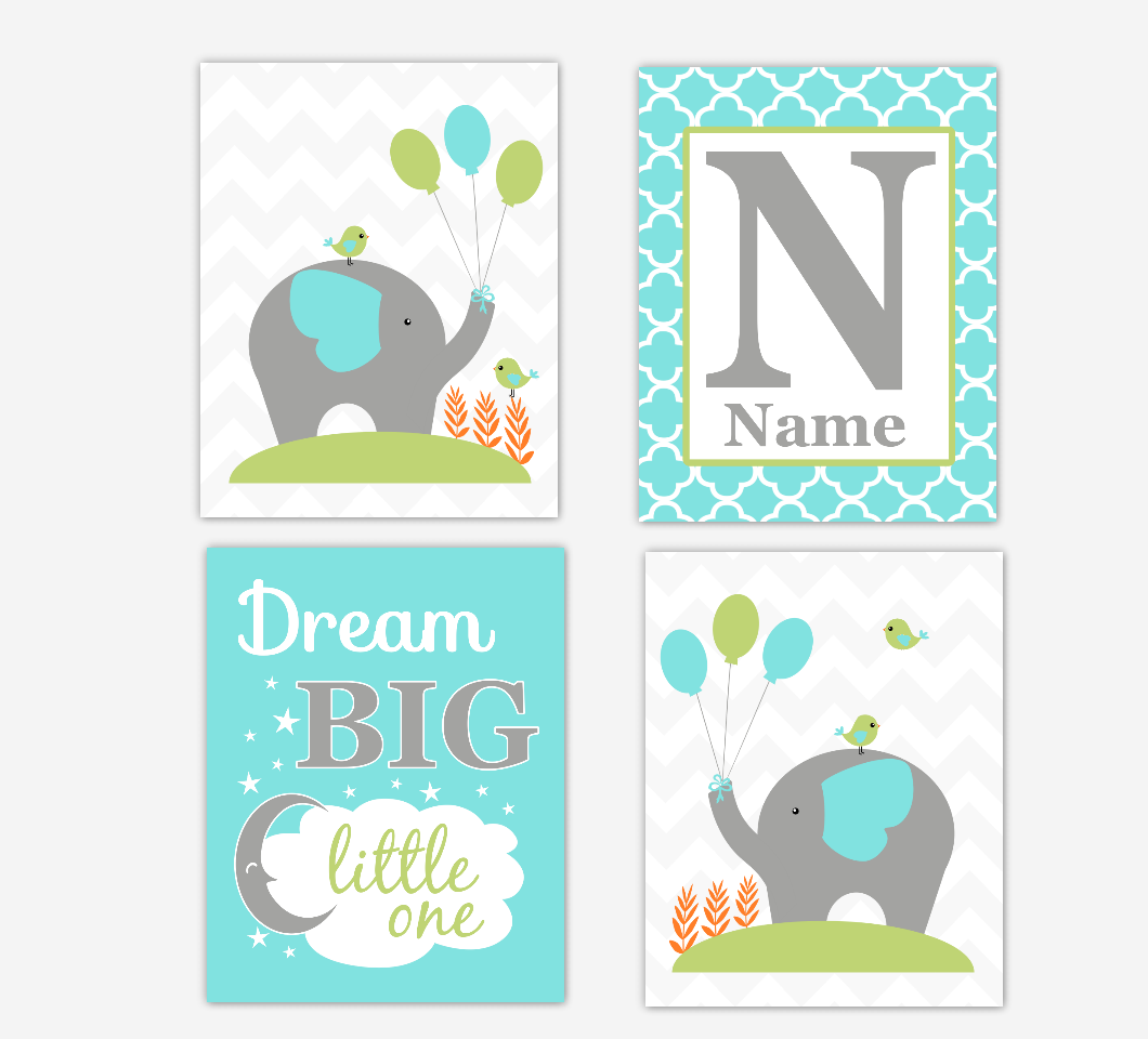 Baby Boy Nursery Decor Turquoise Green Elephant Dream Big Personalized Baby Nursery Wall Art Prints 01689