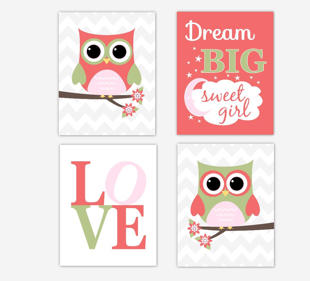Coral Baby Girl Nursery Decor Owls Pink Green Dream Big LOVE Baby Girl Wall Art Prints 01691