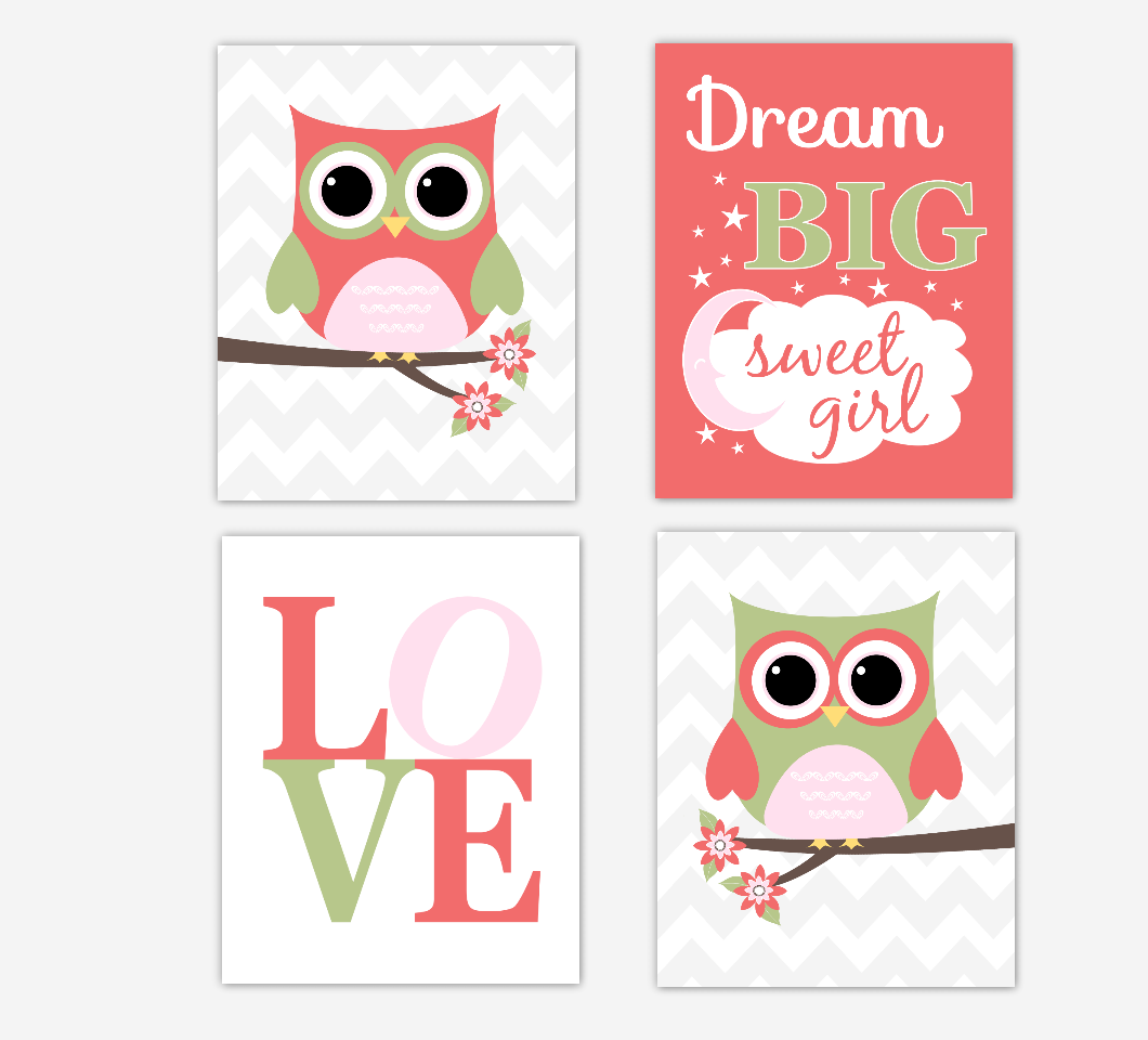 Coral Baby Girl Nursery Decor Owls Pink Green Dream Big LOVE Baby Girl Wall Art Prints