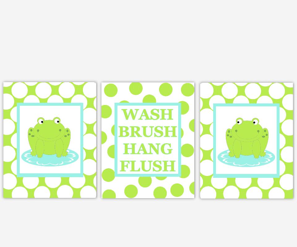 Frog Bath Wall Decor Lime Green Aqua Kids Bath Decor Bathroom Rules Wash Brush Hang Flush Frog Bath Decor Polka Dot Bath Prints 00717