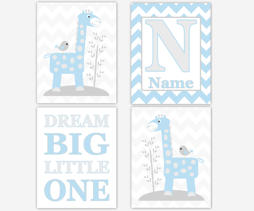 Giraffe Baby Nursery Art Blue Gray Dream Big Little One Giraffe Wall Decor Baby Boy Nursery Prints Baby Nursery Decor Boy Room Wall Art