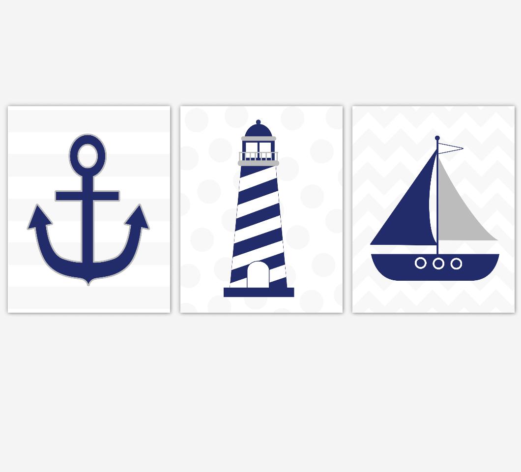 BLUE GRAY Nautical Baby Boy Nursery Wall Art Lighthouse Anchor Sailboat Bathroom Wall Art Navy Grey Chevron Bathroom Prints Home Decor Boys Room Wall Art Playroom Prints SET OF 3 UNFRAMED PRINTS 00461