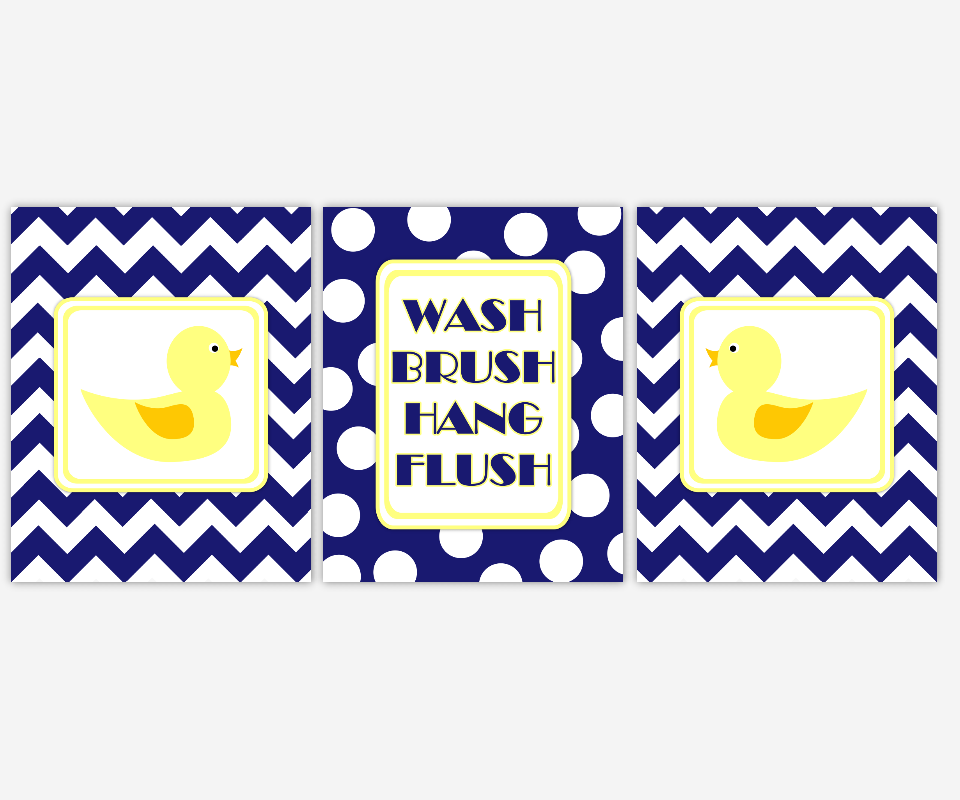 Rubber Duck Kids Bath Wall Art Rubber Duck Ducky Wash Brush Hang Flush Bath Rules Navy Blue Chevron Polka Dots Bath Prints Bathroom Home Decor Prints SET OF 3 UNFRAMED PRINTS