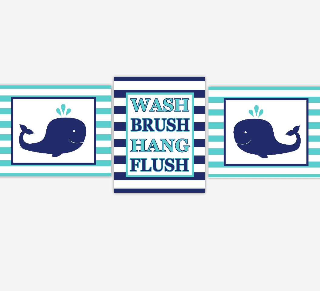 Kids Bathroom Wall Art Navy Blue Teal Whales Wash Brush Hang Flush ...