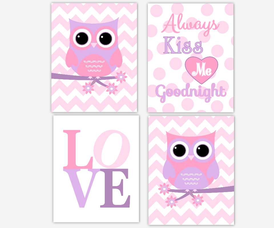 Owl Baby Girl Nursery Wall Art Pink Lavender Purple Girl Room Art