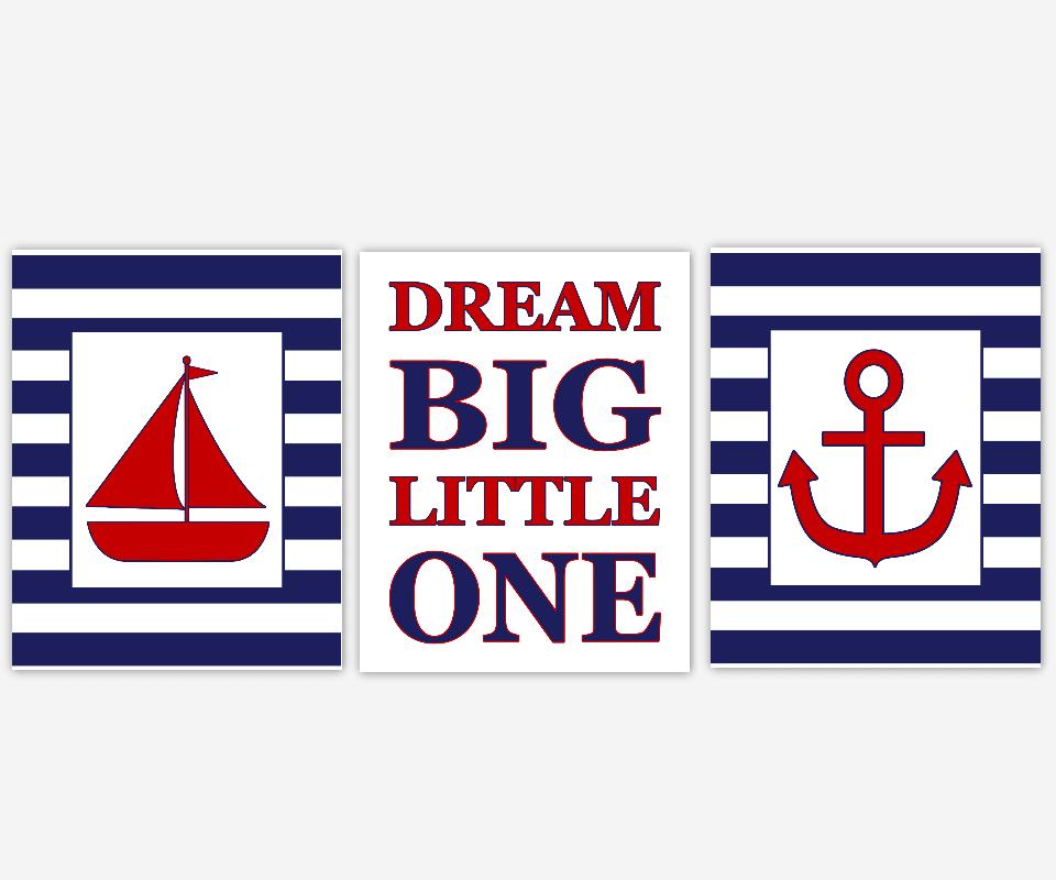 Nautical Baby Boy Nursery Decor Navy Blue Red Sailboat Anchor Baby Nursery Prints Nursery Wall Art Bath Wall Art Dream Big Little One Boys Room Art Kids Bath Decor SET OF 3 UNFRAMED PRINTS 00484