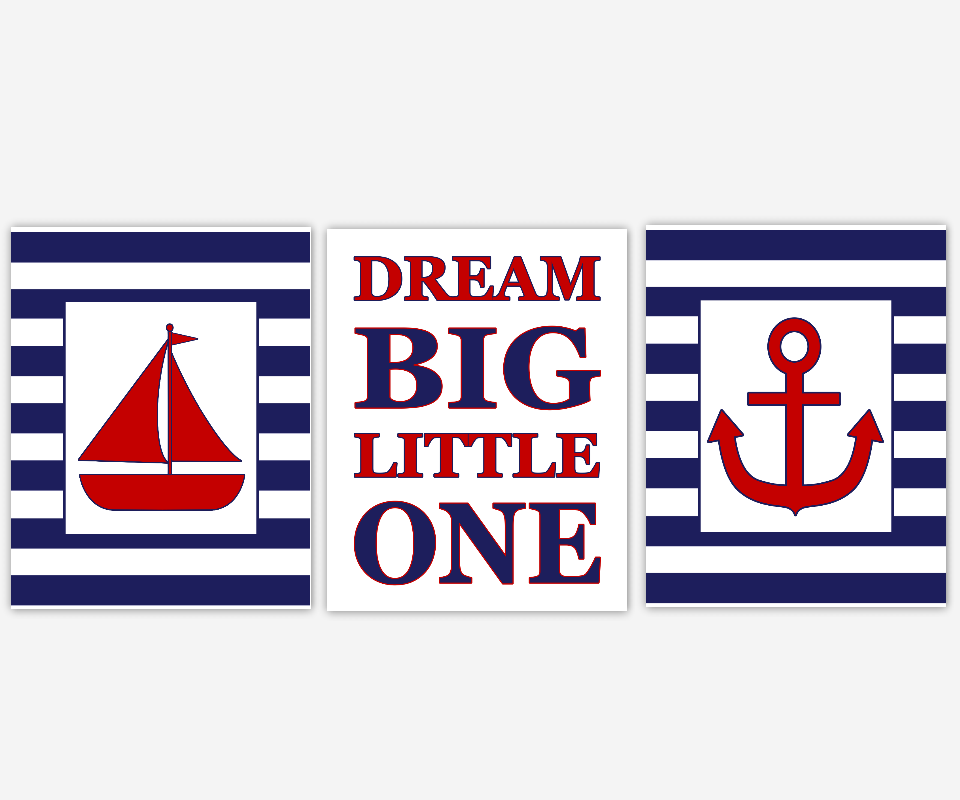 Nautical Baby Boy Nursery Decor Navy Blue Red Sailboat Anchor Baby Nursery Prints Nursery Wall Art Bath Wall Art Dream Big Little One Boys Room Art Kids Bath Decor SET OF 3 UNFRAMED PRINTS