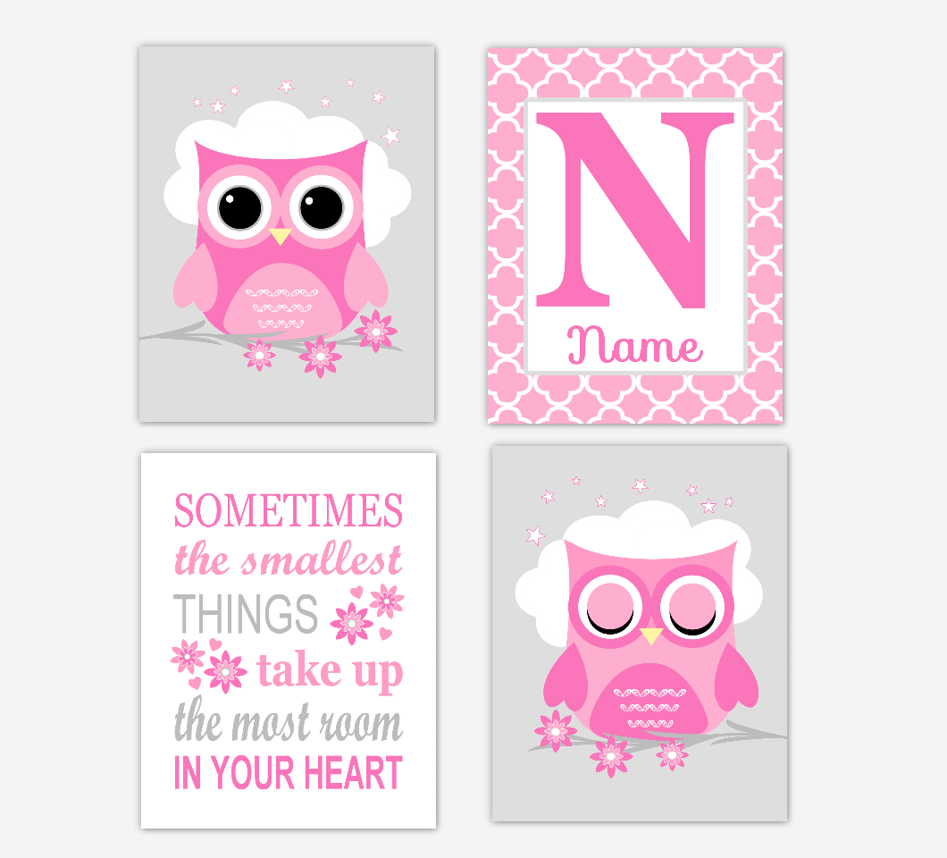 Pink Owl Baby Girl Nursery Wall Art Prints Personalized Sometimes The Smallest Things Baby Nursery Decor SET OF 4 UNFRAMED PRINTS 01696