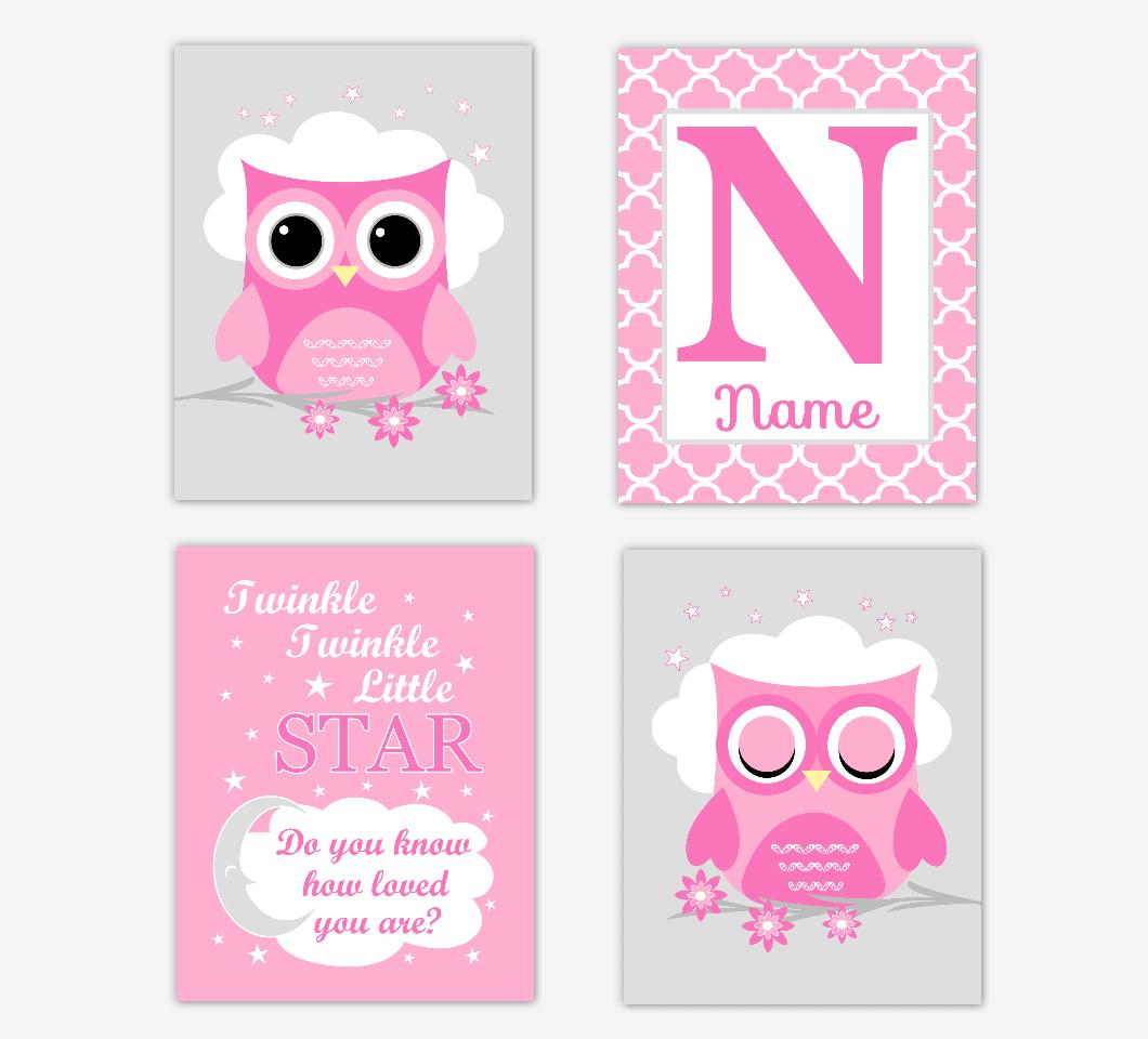 Pink Owl Baby Girl Nursery Wall Art Prints Personalized Twinkle Little Star Baby Nursery Decor  SET OF 4 UNFRAMED PRINTS 01697