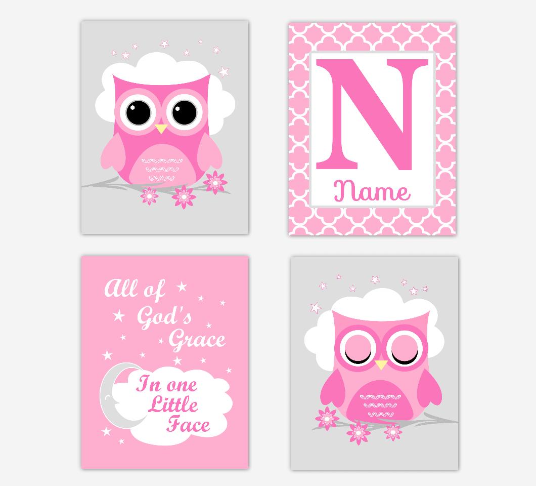Pink Owl Baby Girl Nursery Wall Art Prints Personalized All Of Gods Grace Baby Nursery Decor   SET OF 4 UNFRAMED PRINTS 01698