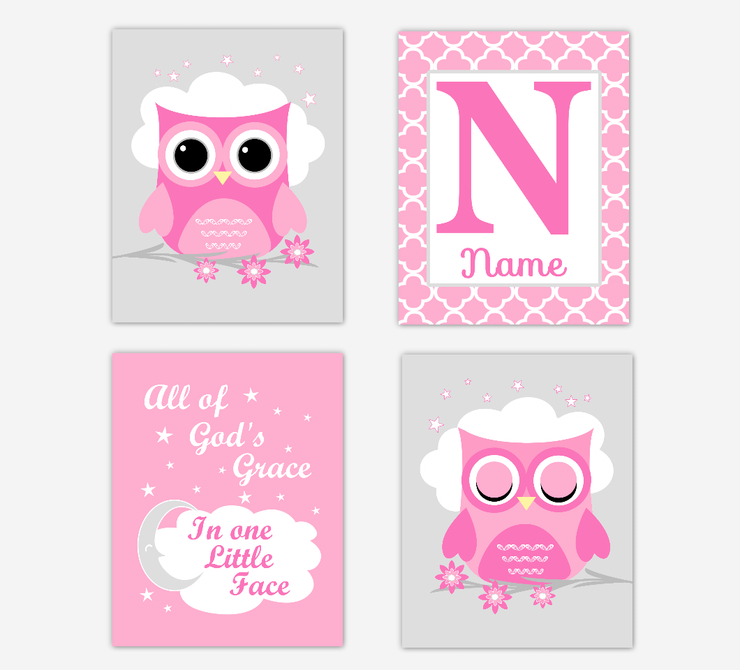 Pink Owl Baby Girl Nursery Wall Art Prints Personalized All Of Gods Grace Baby Nursery Decor   SET OF 4 UNFRAMED PRINTS