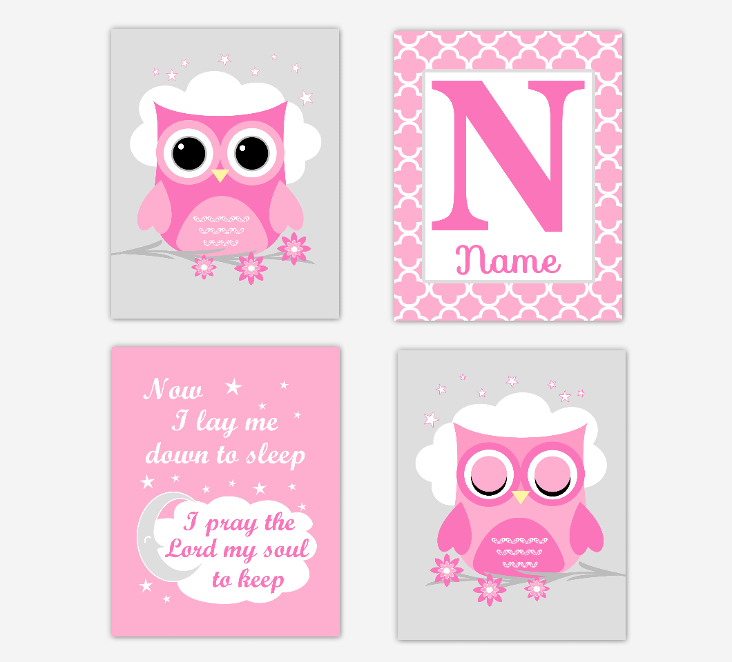 Pink Owl Baby Girl Nursery Wall Art Prints Personalized Now I Lay Me Down To Sleep Baby Nursery Decor    SET OF 4 UNFRAMED PRINTS