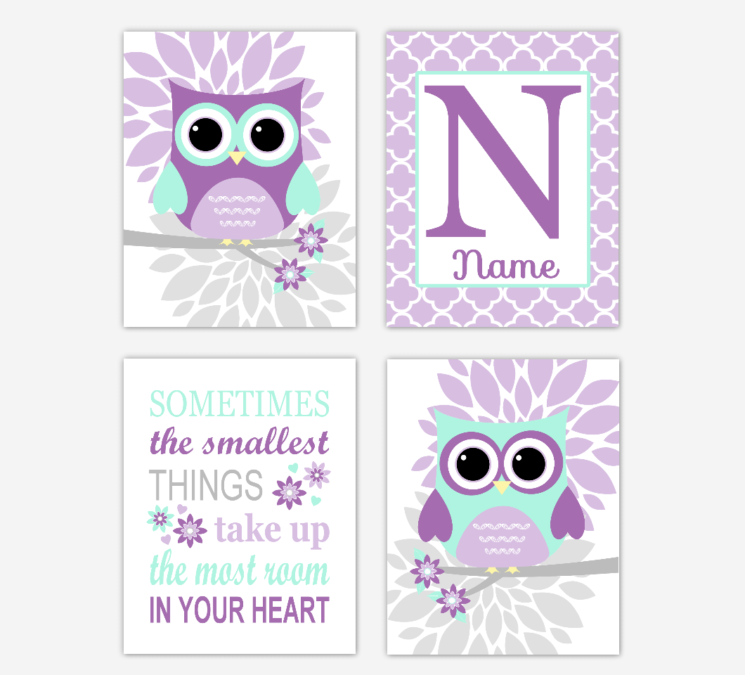 Purple Mint Owl Baby Girl Nursery Wall Art Prints Personalized Sometimes The Smallest Things Baby Nursery Decor     SET OF 4 UNFRAMED PRINTS 01700