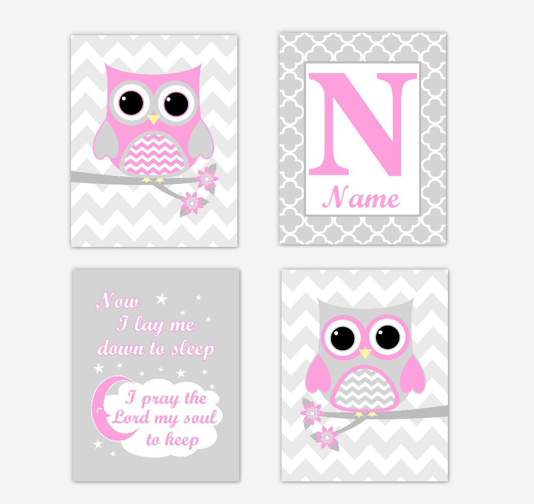 Pink Owls Baby Girl Nursery Wall Art Prints Personalized Baby Nursery Decor Now I Lay Me Down to Sleep 01718