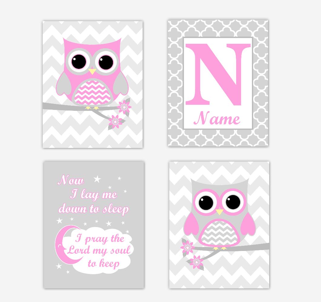 Pink Owls Baby Girl Nursery Wall Art Prints Personalized Baby Nursery Decor Now I Lay Me Down to Sleep