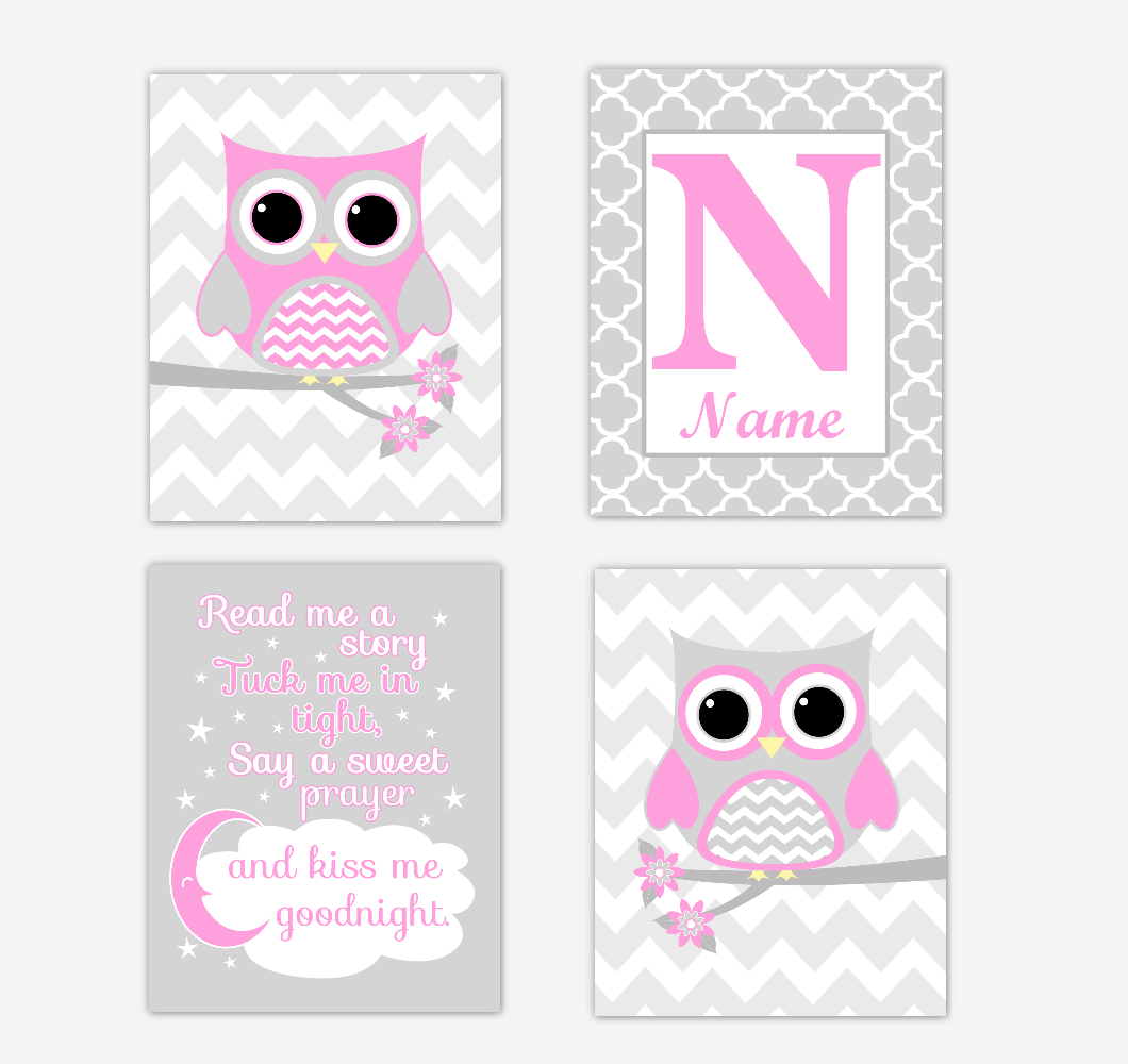 Pink Owls Baby Girl Nursery Wall Art Prints Personalized Baby Nursery Decor Read Me A Story 01719