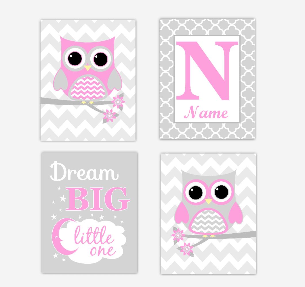 Pink Owls Baby Girl Nursery Wall Art Prints Personalized Baby Nursery Decor Dream Big Little One 01721