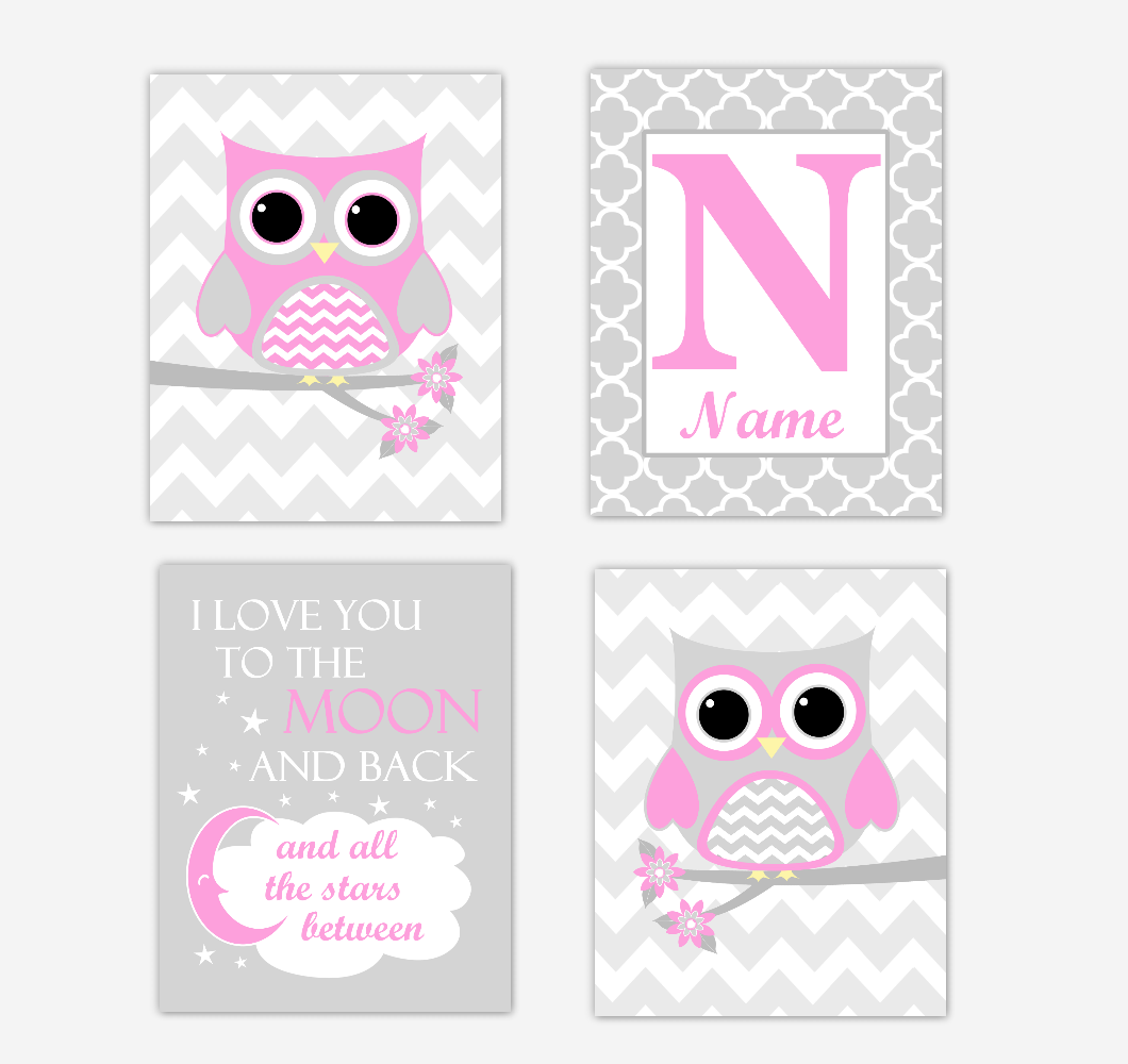 Pink Owls Baby Girl Nursery Wall Art Prints Personalized Baby Nursery Decor I Love You To The Moon and Back 01722