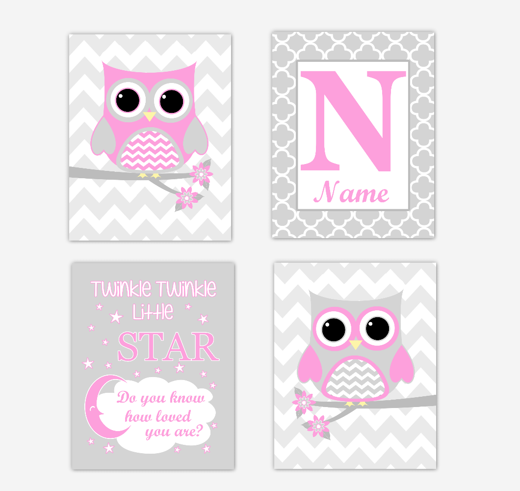 Pink Owls Baby Girl Nursery Wall Art Prints Personalized Baby Nursery Decor Twinkle Little Star 01723