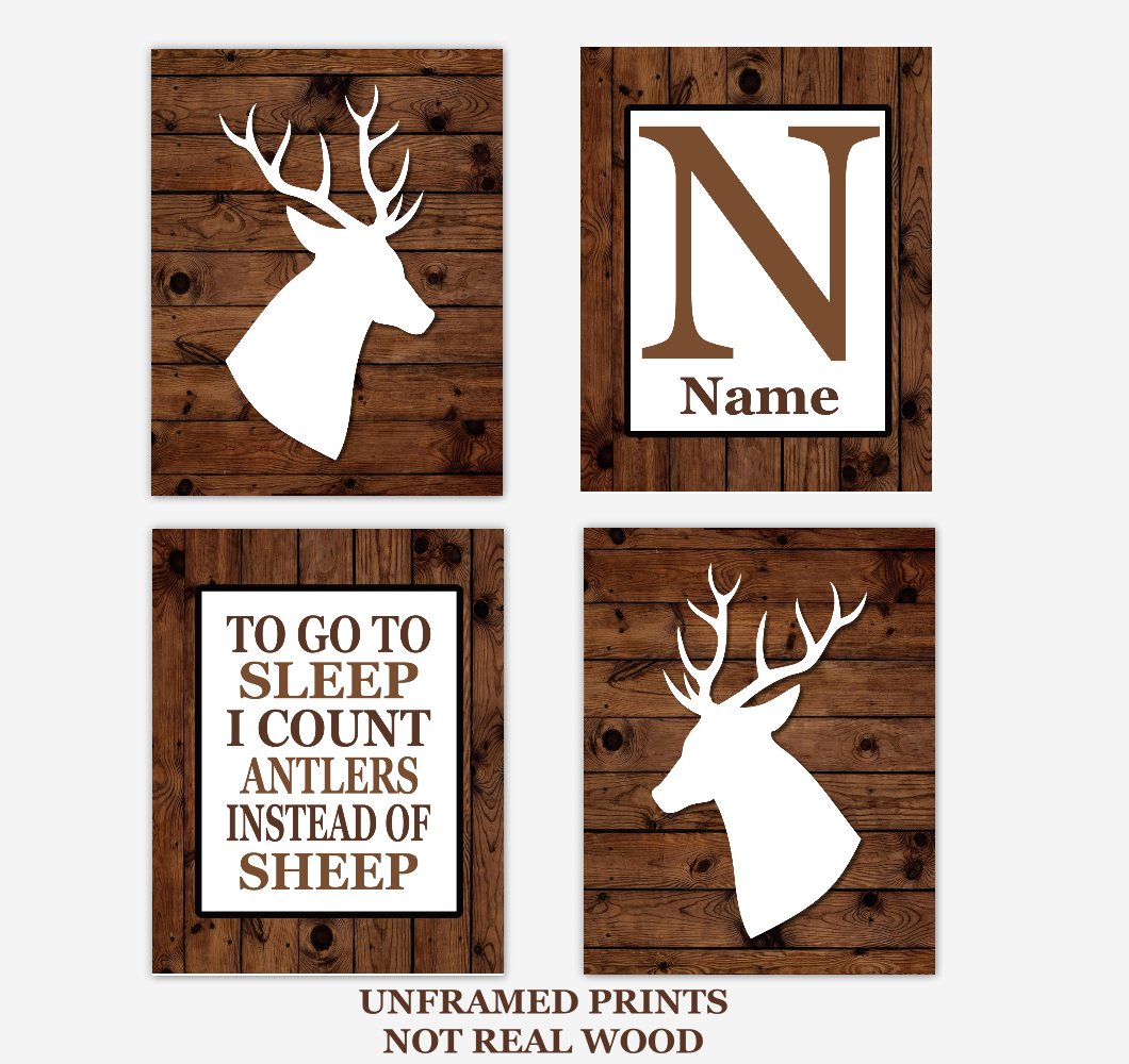 Deer Baby Boy Nursery Wall Art Rustic Brown White Personalized Baby Nursery Decor To Go To Sleep Quote 01724