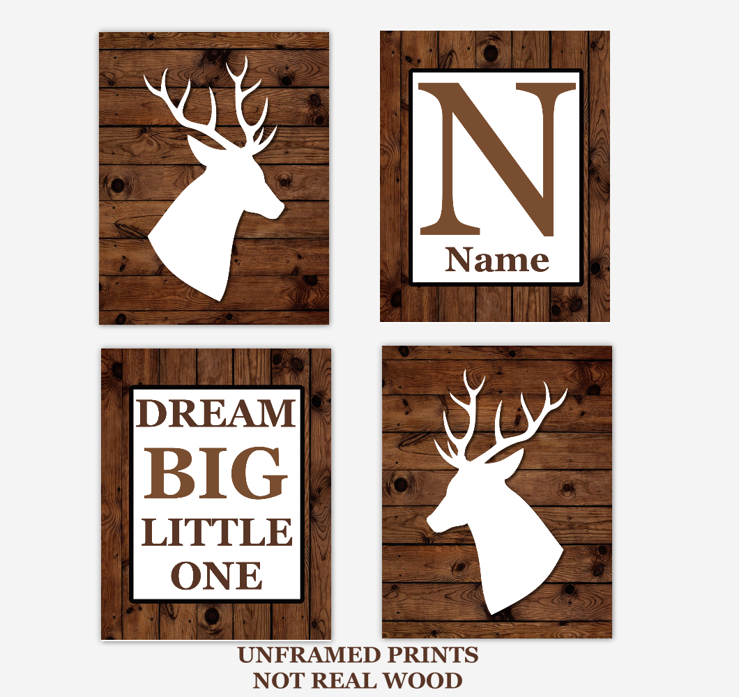 Deer Baby Boy Nursery Wall Art Rustic Brown White Personalized Baby Nursery Decor Dream Big Little One 01726